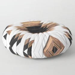 Urban Tribal Pattern No.5 - Aztec - Concrete And Wood Floor Pillow by Zoltan Ratko - ROUND - 30