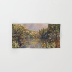 Hand Towel | Lakeside Landscape By Renoir by Palazzo Art Gallery - Hand Towel - Society6 found on Bargain Bro from Society6 for USD $9.11