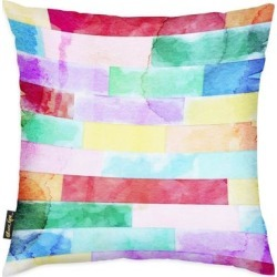 Oliver Gal 'Color Swatches' Abstract Decorative Throw Pillow Watercolor - Purple, Yellow (18 x 18)(Microfiber) found on Bargain Bro from Overstock for USD $40.42