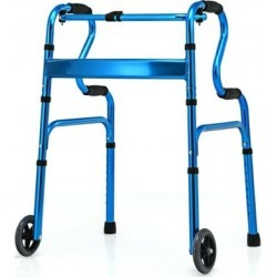 Costway Aluminum Heavy-Duty Folding Wheeled Stand-Assist Walker-Blue found on Bargain Bro India from Costway for $69.95
