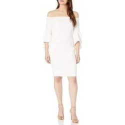 Calvin Klein Women's One Shoulder Solid Sheath Dress, Cream, 14 (Cream - 14), Ivory found on Bargain Bro from Overstock for USD $56.99