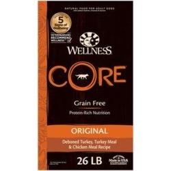 Wellness CORE Grain-Free Original Deboned Turkey, Turkey Meal & Chicken Meal Recipe Dry Dog Food, 26-lb bag