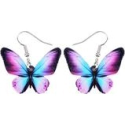 Don't AsK Women's Earrings Blue, - Blue & Purple Butterfly Acrylic Drop Earrings found on Bargain Bro India from zulily.com for $9.99
