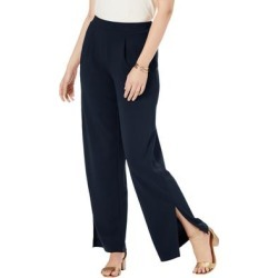 Plus Size Women's Knit Crepe Side-Slit Pant by Jessica London in Navy (Size 22 W) found on Bargain Bro Philippines from Roamans.com for $44.99