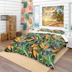 Designart 'Tropical Pattern with Exotic Flowers' Tropical Bedding Set - Duvet Cover & Shams (King Cover + 2 king Shams (comforter not included)), found on Bargain Bro India from Overstock for $124.94