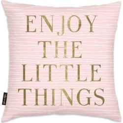 Oliver Gal 'Enjoy Everything' Decorative Throw Pillow, Gold, Oliver Gal Artist Co.(Microfiber, Quotes & Sayings) found on Bargain Bro from Overstock for USD $40.42