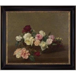 A Basket of Roses by Henri Fantin Latour 1890 Oil Painting Print on Canvas 28 In. x 23 In. found on Bargain Bro Philippines from Overstock for $235.99