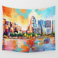 Pittsburgh Skyline Wall Hanging Tapestry by Sara Buttra-coleman - 51