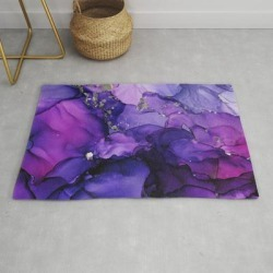 Modern Throw Rug | Violet Magenta Chrome - Abstract Ink by Olechka - 2' x 3' - Society6 found on Bargain Bro India from Society6 for $34.30