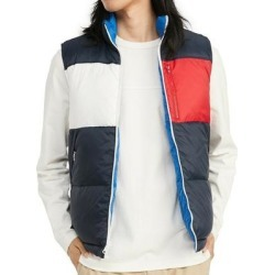 Tommy Hilfiger Mens Vest Blue Large L Colorblock Reversible Zip Puffer (L), Men's(nylon) found on Bargain Bro Philippines from Overstock for $79.98