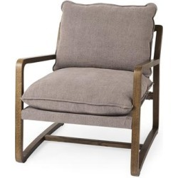 Brayden 28.3L x 34.1W x 35H Dark Brown Wood W/ Gray Fabric Seat Accent Chair - Mercana 69357 found on Bargain Bro Philippines from totally furniture for $882.99