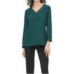 Calvin Klein Women's Blouse Hunter Green Size XL Mesh Trim V Neck (XL)(polyester) found on Bargain Bro Philippines from Overstock for $26.97