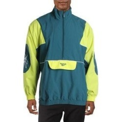 Reebok Mens Athletic Jacket 1/2 Zip Fitness - Deep Teal/Hero Yellow (2XL), Men's, Deep Blue/Hero Yellow(nylon) found on Bargain Bro Philippines from Overstock for $41.49