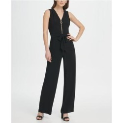 DKNY Womens Black Zippered Sleeveless V Neck Evening Jumpsuit Size 8 (Black - 8), Women's(knit, Solid) found on Bargain Bro from Overstock for USD $60.78