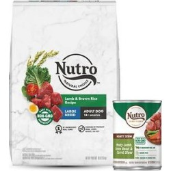 Nutro Natural Choice Large Breed Adult Lamb & Brown Rice Recipe Dry Food + Hearty Stew Meaty Lamb, Green Bean & Carrot Cuts in Gravy Grain-Free Canned Dog Food