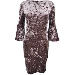 Calvin Klein Women's Velvet Bell-Sleeve Dress - Taupe (16), Brown found on Bargain Bro from Overstock for USD $49.39