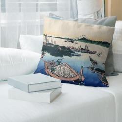 Porch & Den Katsushika Hokusai 'Tsukuda Island in Musashi Province' Throw Pillow (18 x 18 - Purple - Cotton) found on Bargain Bro from Overstock for USD $55.85
