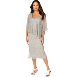 Plus Size Women's Embellished Capelet Dress by Roaman's in Silver Shimmer (Size 22 W) found on Bargain Bro Philippines from fullbeauty for $164.99