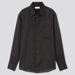 UNIQLO Men's Premium Linen Long-Sleeve Shirt, Black, XL found on Bargain Bro India from Uniqlo for $29.90