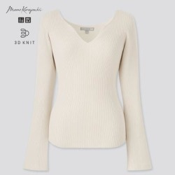 UNIQLO Women's 3d Knit Ribbed Long-Sleeve Sweater (Mame Kurogouchi), Off White, M found on Bargain Bro Philippines from Uniqlo for $49.90
