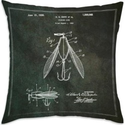 Oliver Gal 'Fishing Lure 1925' Decorative Throw Pillow, Black, Oliver Gal Artist Co.(Microfiber, Graphic Print) found on Bargain Bro from Overstock for USD $36.81