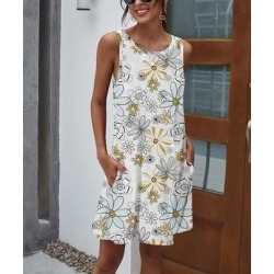 Camisa Women's Casual Dresses Navy - White Floral Pocket Sleeveless Dress - Women found on Bargain Bro from zulily.com for USD $12.91