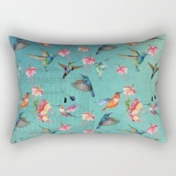 Rectangular Pillow   Vintage Watercolor Hummingbirds And Fuchsia Flowers by Utart - Small (17