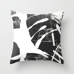 Couch Throw Pillow | Monstera Leaf Black by The Old Art Studio - Cover (16