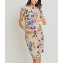 Hello Miz Maternity Women's Casual Dresses TAUPE - Taupe & Cream Floral Tie-Waist Maternity Cap-Sleeve Dress found on Bargain Bro from zulily.com for USD $12.91