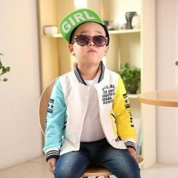 Boy Coat Matching Color Fashion Letter Printing Long Sleeves Round Collar Baseball Coat Leisure Wmb0208 (Yellow - 90 cm), Boy's(cotton) found on MODAPINS from Overstock for USD $34.12