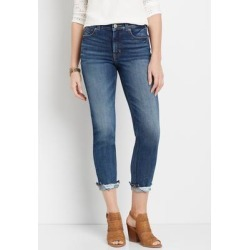 Maurices Womens Edgely™ Premium High Rise Dark Destructed Hem Slim Straight Leg Jeans Blue - Size 6 found on Bargain Bro from Maurices for USD $28.10
