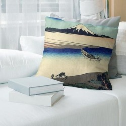 Porch & Den Katsushika Hokusai 'Tama River in Musashi Province' Throw Pillow (18 x 18 - Red - Synthetic Fiber) found on Bargain Bro from Overstock for USD $47.49