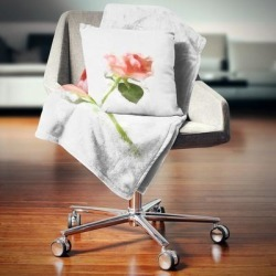 Designart 'Pink Rose Watercolor with Stem' Floral Throw Blanket (59 in. x 71 in.), DESIGN ART found on Bargain Bro from Overstock for USD $40.69