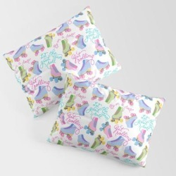 Pillow Sham | Roller Skates Pattern (white Background) by Illucalliart - STANDARD SET OF 2 - Cotton - Society6 found on Bargain Bro from Society6 for USD $30.39