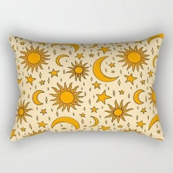 "Vintage Sun And Star Print Rectangular Pillow by Doodle By Meg - Small (17"" x 12"")"