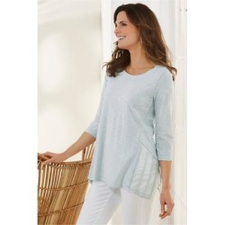 Women Gemma 3/4 Sleeve T-shirt by Soft Surroundings, in Baby Blue size 1X (18-20)