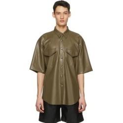 Khaki Vegan Leather Nelan Shirt - Natural - Nanushka Shirts found on MODAPINS from lyst.com for USD $510.00