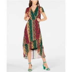 INC Womens Green Printed V Neck Below The Knee Hi-Lo Dress Size 12 (Green - 12), Women's(Polyester) found on Bargain Bro India from Overstock for $21.98