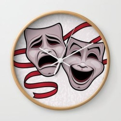 Wall Clock | Comedy And Tragedy Theater Masks by John Schwegel - Natural - White - Society6 found on Bargain Bro Philippines from Society6 for $25.59