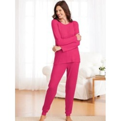 Women's Sweater Knit Pajamas, Fuchsia Pink L Misses found on Bargain Bro from Blair.com for USD $22.79