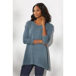 Women's Live Soft Drop Shoulder Pullover Top by Soft Surroundings, in Blue Heather size XS (2-4)