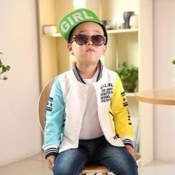 Boy Coat Matching Color Fashion Letter Printing Long Sleeves Round Collar Baseball Coat Leisure Wmb0208 (Yellow - 110 cm), Boy's(cotton) found on MODAPINS from Overstock for USD $34.12