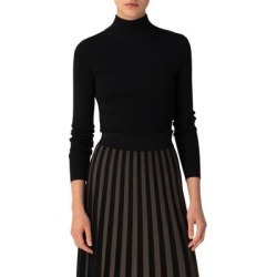 Ribbed Merino Wool Turtleneck - Black - Akris Punto Knitwear found on MODAPINS from lyst.com for USD $495.00
