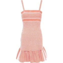Cecilie Copenhagen Judith Fluted Shirred Cotton-jacquard Mini Dress - Pink - Cecilie Copenhagen Dresses found on MODAPINS from lyst.com for USD $84.00