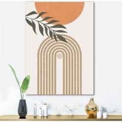 Designart 'Abstract Sun Moon Leaves I' Modern Canvas Wall Art Print found on Bargain Bro Philippines from Overstock for $95.99