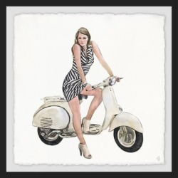 Marmont Hill - Handmade Lady on Scooter Framed Print found on Bargain Bro Philippines from Overstock for $119.49