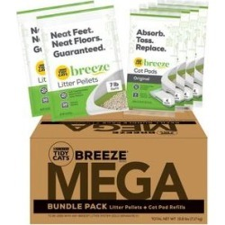 Tidy Cats Mega BREEZE Refill Litter Pellets & Cat Pads Multi Cat Litter, 15.8-lb box found on Bargain Bro from Chewy.com for USD $37.99