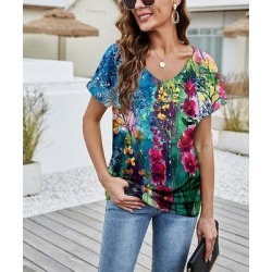 Camisa Women's Tee Shirts Multicolor - Fuchsia & Blue Floral V-Neck Top - Women found on Bargain Bro from zulily.com for USD $12.91