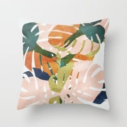 Couch Throw Pillow | Monstera Delight by Grace - Cover (16