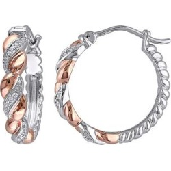 Sofia B Women's Earrings Rose - Diamond & Two-Tone Sterling Silver Twisted Hoop Earrings found on Bargain Bro India from zulily.com for $79.99